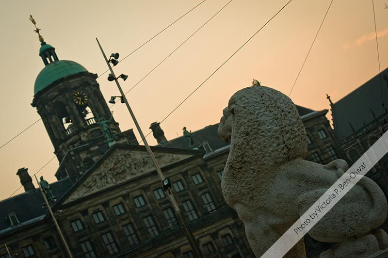 Lion du Monument national. Amsterdam, Holland