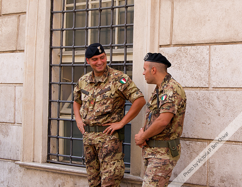 Soldiers at Piazza Di Spagna. Rome, Italy