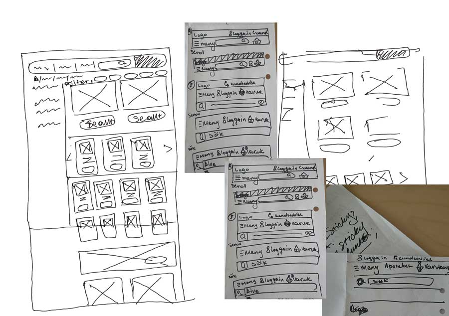 Random sketches and wireframes