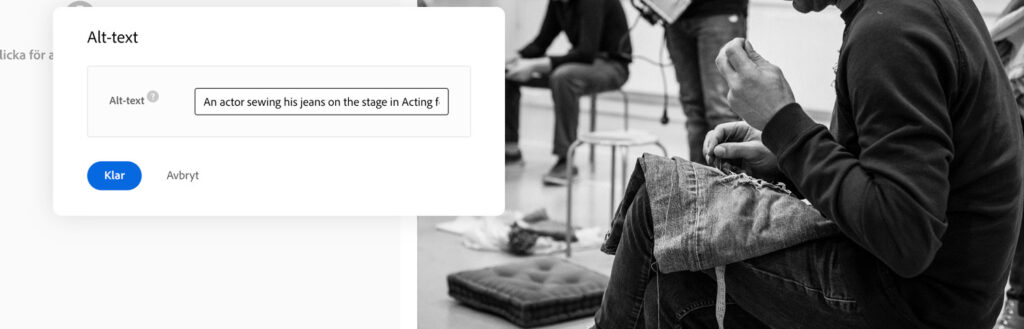 An actor sewing his jeans on stage in Acting for Change.